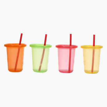 Juniors Disposable Tumbler Cup with Straw - Set of 4