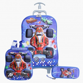 Juniors Cars Printed 3-Piece Trolley Backpack Set