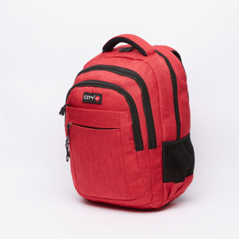 LYC SAC Textured Backpack with Zip Closure with Pencil Case
