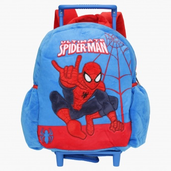 Spider-Man Printed Trolley Backpack with Zip Closure