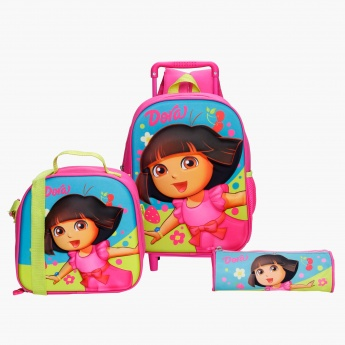Dora Printed 3-Piece Trolley Backpack Set