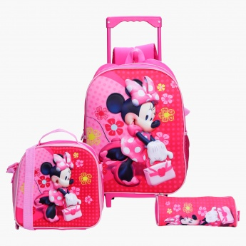 Minnie Mouse Printed 3-Piece Trolley Backpack Set