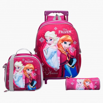 Frozen Printed 3-Piece Trolley Backpack Set