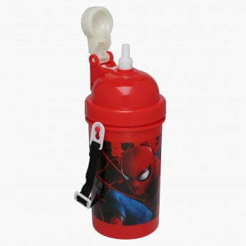 Spider-Man Print Water Bottle with Strap - 500 ml