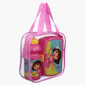Dora the Explorer Printed Lunch Box and Water Bottle Set in Bag