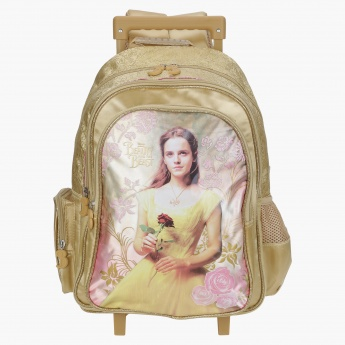 Beauty and the Beast Printed Trolley Backpack with Zip Closure