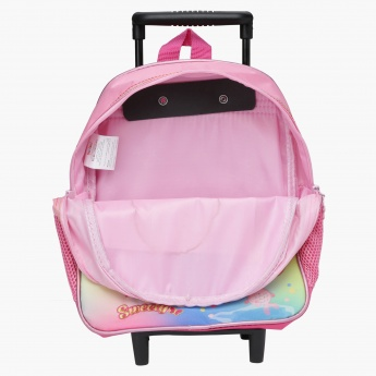 Sweety Printed Trolley Backpack with Zip Closure
