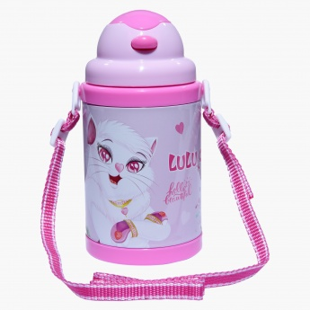 Lulu Caty Printed Water Bottle with Strap