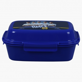 Real Madrid Printed Lunch Box with 4-Clip Closures and 3 Trays