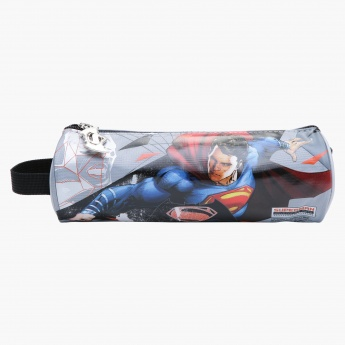 Superman Printed Round Pencil Case with Strap