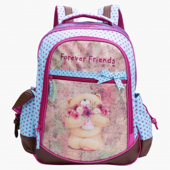 Forever Friends Printed Backpack with Zip Closure