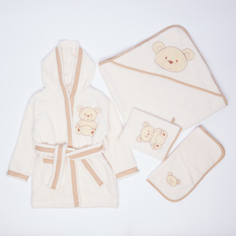 Juniors 4-Piece Hooded Bath Robe Set with Teddy Bear Applique