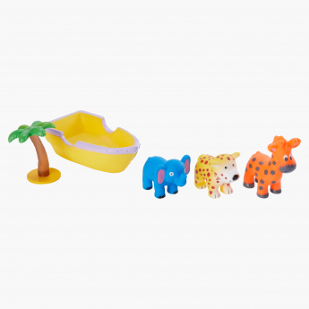 Juniors Vinyl Wild Animals with Tree and Boat