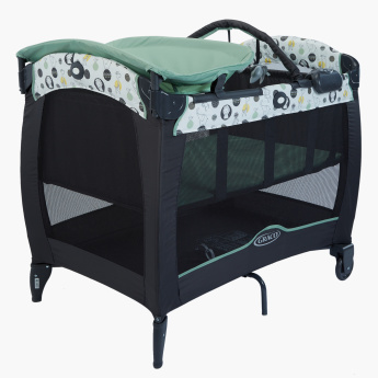 Graco Printed Foldable Travel Cot with Light and Sound
