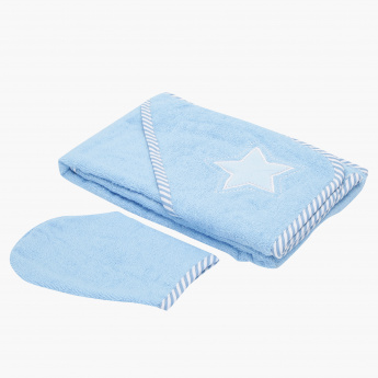 Juniors Applique Detail Towel and Wash Mitten Set