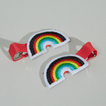 Charmz Rainbow Embroidered Hair Clip - Set of 2