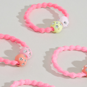Charmz Textured Bead Detail Hair Tie - Set of 4