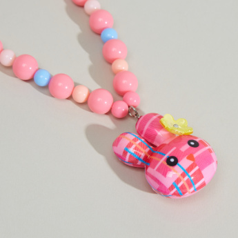 Charmz Beaded Rabbit Pendant Necklace and Bracelet Set