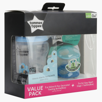 Tommee Tippee Printed Feeding Bottle and Teether Set
