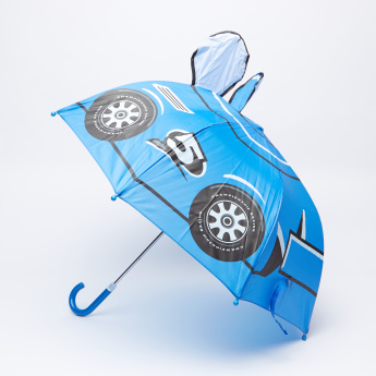 Printed Single-Fold Umbrella with Curved Handle