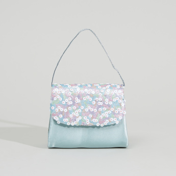 Bloom Fairy Handbag with Magnetic Snap Closure and Sequin Detail Flap