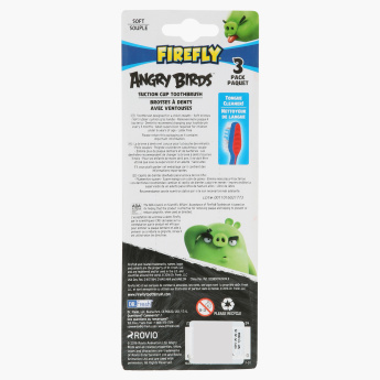 Angry Birds Printed Toothbrush with Suction Cup - Set of 3
