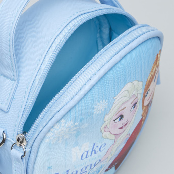 Frozen Printed Crossbody Bag with Zip Closure
