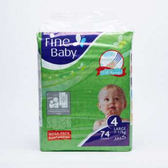 Fine 74-Piece Baby Diapers - Large