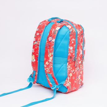 Fusion Floral Printed Backpack with Zip Closure and Adjustable Straps