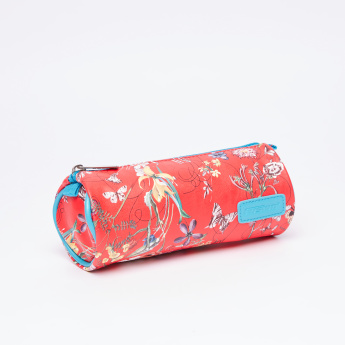 Fusion Floral Printed Round Pencil Case with Zip Closure