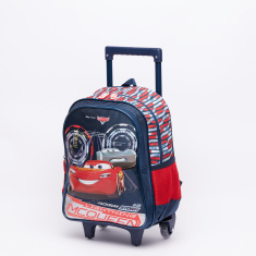 Cars Printed Trolley Backpack with Zip Closure