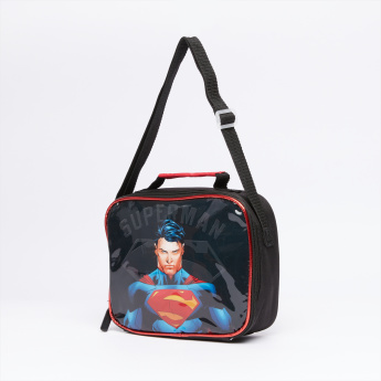 Superman Printed 5-Piece Trolley Backpack Set with Zip Closure