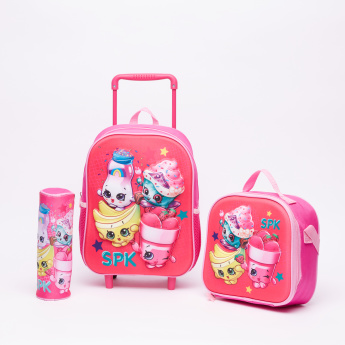 Shopkins Printed 3-Piece Trolley Backpack Set