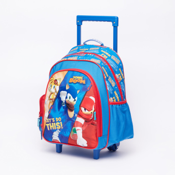 Sonic Boom Printed Trolley Backpack with Zip Closure
