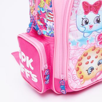 Shopkins Printed Backpack with Zip Closure and Adjustable Straps