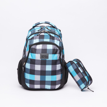 Juniors Chequered Backpack with Pencil Case