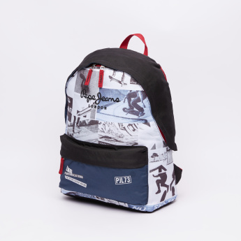 Pepe Jeans Printed Backpack with Zip Closure and Adjustable Straps