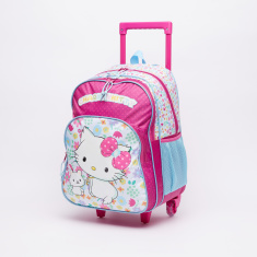 Charmmy Kitty Printed Trolley Backpack with Zip Closure