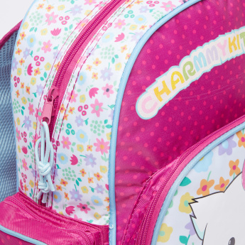 Charmmy Kitty Printed Backpack with Zip Closure