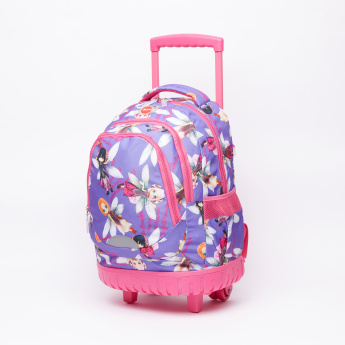 LYC SAC Printed Trolley Backpack with Zip Closure