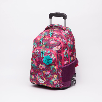 DIS2 Floral Printed Trolley Backpack with Zip Closure