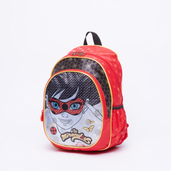 Miraculous Ladybug Printed Backpack with Zip Closure