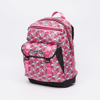 Hello Kitty Printed Backpack with Zip Closure and Adjustable Straps