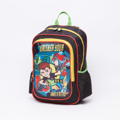 Ben 10 Printed Backpack with Zip Closure and Adjustable Straps