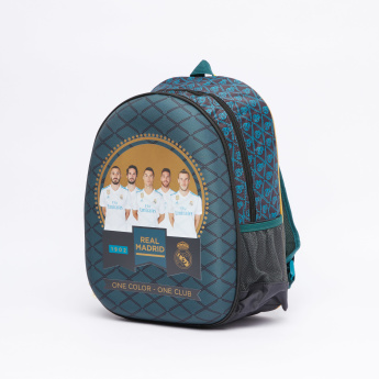 Real Madrid Printed Hard Moulded Backpack with Zip Closure