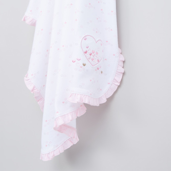 Juniors Printed Blanket with Ruffle Detail