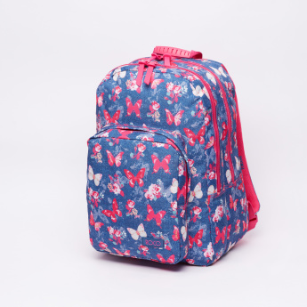 Butterfly Printed Backpack with Zip Closure and Adjustable Straps