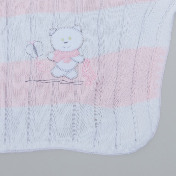 Juniors Striped Shawl Scarf with Bear Applique - 100x100 cms