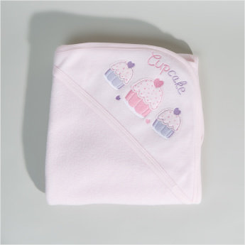 Juniors Cupcake Embroidered Hood Blanket - 76x102 cms