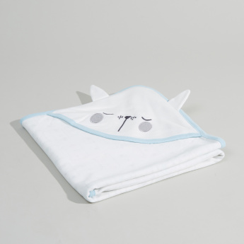Juniors Embroidered Hooded Receiving Blanket - 80x80 cms